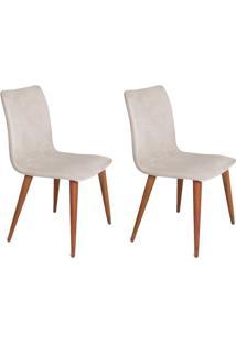 Conjunto Com 2 Cadeiras Luanda Pé Palito Veludo Cru