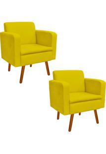 Kit 02 Poltrona Decorativa Emília Suede Amarelo - D'Rossi