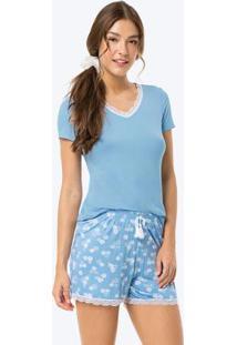 Pijama Azul Claro Estampado Com Renda