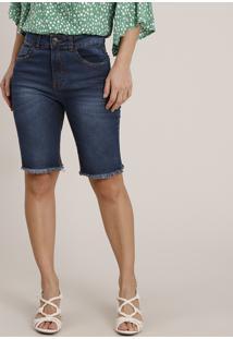 Bermuda Jeans Feminina Ciclista Cintura Alta Com Barra Desfiada Azul Escuro