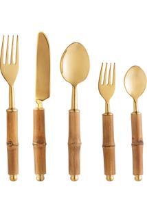Conjunto 6 Talheres Aço Inox Com Cabo Bambu Dourado