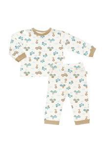Pijama Longo Estampado Em Suedine - Anjos Baby Bege Amarelado