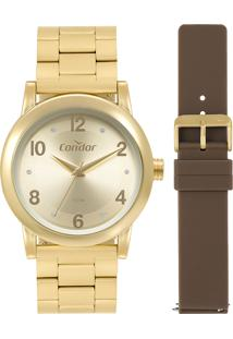 Relógio Analógico Condor Feminino Troca Pulseira - Co2035Mqot8M Dourado