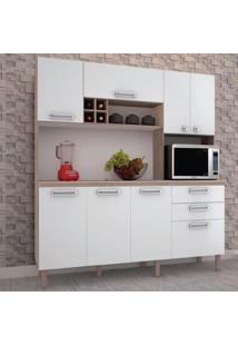 Cozinha Compacta Esmeralda Com Tampo 2899 Kits Paraná Nogal Com Branco