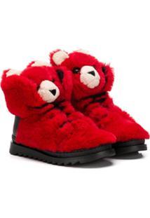 Dolce & Gabbana Kids Tênis Pelúcia - Vermelho