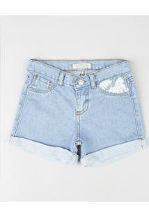 Short Jeans Infantil Com Paetê E Barra Dobrada Azul Claro
