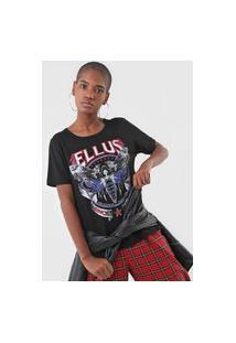 Camiseta Ellus Gaze Moth Embroidery Preta