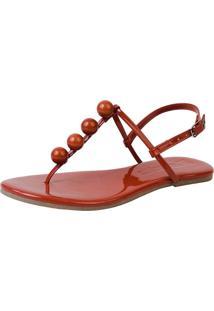 Rasteira Mercedita Shoes Verniz Borgonha Bola Ultra Macia - Marrom - Feminino - Dafiti
