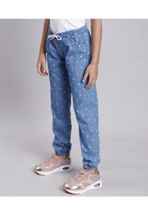 Calça Jeans Infantil Jogger Estampada De Coração Com Cordão E Babado Azul Médio