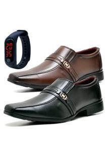 2 Pares Sapato Social Fashion Com Relógio Led Fine Dubuy 806El Preto