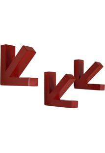 Conjunto De Cabideiros Seta 3 Peças Uvim Vermelho
