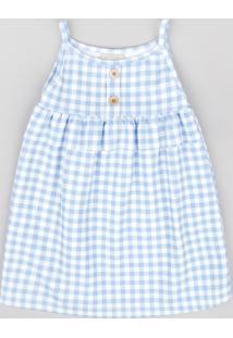 Vestido Infantil Estampado Xadrez Vichy Com Babado Alça Fina Azul Claro