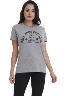 Camiseta Jay Jay Básica Feel Your Feelings Cinza Mescla Dtg
