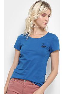 Camiseta Top Moda Bordada Feminina - Feminino-Azul