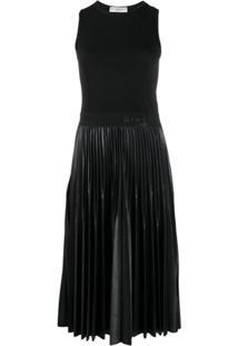 Givenchy Vestido Midi Com Pregas - Preto