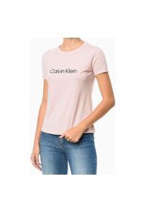 Camiseta Gola Careca Rosa Claro Calvin Klein