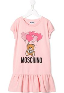 Moschino Kids Vestido Toy Bear - Rosa