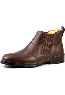 Botina Couro Doctor Shoes 915 Pespontos Café