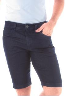 Bermuda Jeans Slim 5 Bolsos Amaciada Blue Black Traymon 656