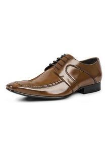 Sapato Social Masculino Em Couro Vegetal - 402 -Caramelo Marrom