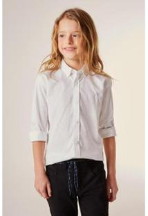 Camisa Mini Pf Ml Oxford Pima Resist Agu Infantil Reserva Mini Masculina - Masculino-Branco