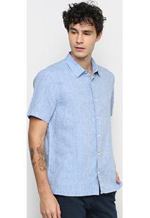 Camisa Vr Linho Manga Curta Masculina - Masculino-Azul
