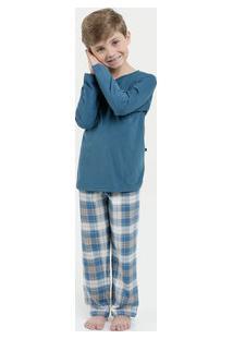 Pijama Infantil Estampa Xadrez Manga Longa Lupo
