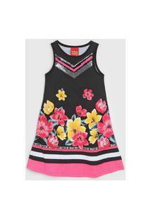 Vestido Kyly Infantil Floral Preto