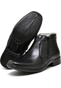 Bota Social Conforto Su Fashion Store Cano Curto Couro Masculino - Masculino-Preto
