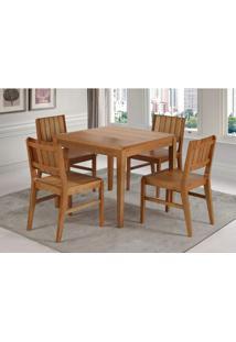Conjunto Salvador 4 Cadeiras Eucalipto Cor Verniz Jatoba 90 Cm (Larg) - 45903 - Sun House