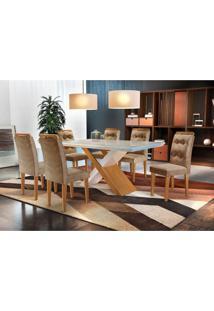 Conjunto De Mesa De Jantar Com 6 Cadeiras Imperatriz Suede Off White E Chocolate