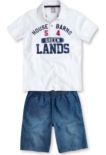 Conjunto Infantil Menino Com Camisa Polo E Bermuda Jeans Hering Kids