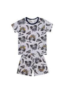 Conjunto Pijama Menino Em Meia Malha Branca Rotativa De Carro - Liga Nessa