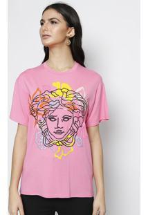 Camiseta Com Bordados Florais & Seda - Rosa & Preta Versace