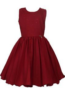 Vestido Katitus Infantil Plissado Liso Vermelho