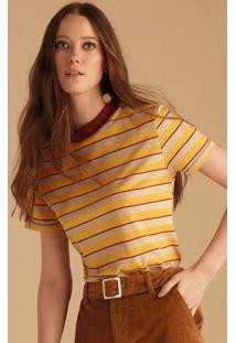 T-Shirt Estampada Em Malha De Algodão Com Gola Contrastante