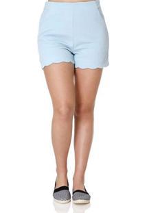 Short De Tecido Feminino Azul