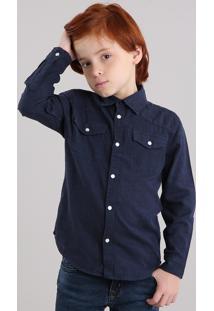 Camisa Infantil Botonê Com Bolsos Manga Longa Azul Marinho