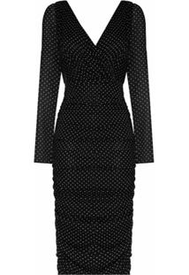 Dolce & Gabbana Vestido Midi De Chiffon Com Poás - Preto