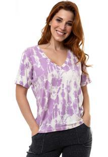 Camiseta Aura Decote V Tie Dye Lilã¡S - Lilã¡S - Feminino - Dafiti