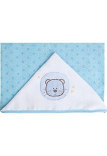 Toalha De Banho Com Capuz Leão- Azul Claro & Branca-Papi