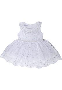 Vestido Infantil Batizado Laise Com Babados - Anjos Baby Branco