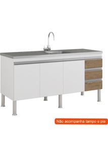 Balcão De Cozinha Ibiza 3 Pt 3 Gv Branco E Carvalho