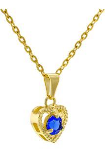 Gargantilha Horus Import Ponto Luz Coração Zafira Banhada Ouro 18 K Dourado