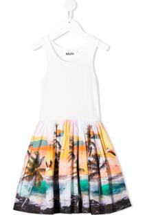 Molo Kids Vestido Evasê Com Estampa Tropical - Branco