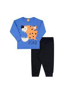 Pijama Bebê Masculino Meia Malha Camiseta Manga Longa Tigre E Calça Preta (1/2/3) - Gueda Kids - Tamanho 3 - Azul,Preto