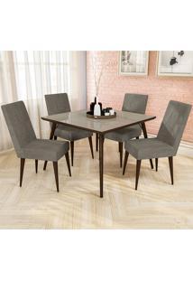 Conjunto De Mesa E 4 Cadeiras D001 - Kappesberg - Walnut / Marrom