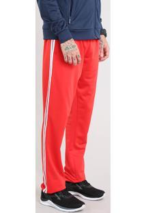 Calça Masculina Esportiva Ace Em Moletom Com Listras Laterais Vermelha