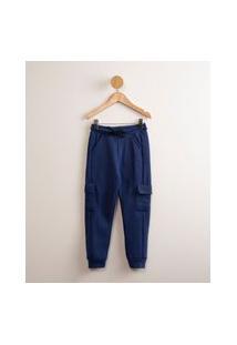 Calça Jogger Infantil De Moletom Com Bolso Cargo Azul Royal