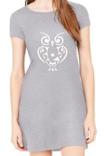 Vestido Criativa Urbana Estampado Coruja Tattoo - Feminino-Cinza